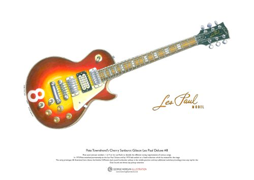George Morgan Illustration Pete Townshend Cherry Sunburst Gibson Les Paul Deluxe #8 Kunst Poster A3-Format