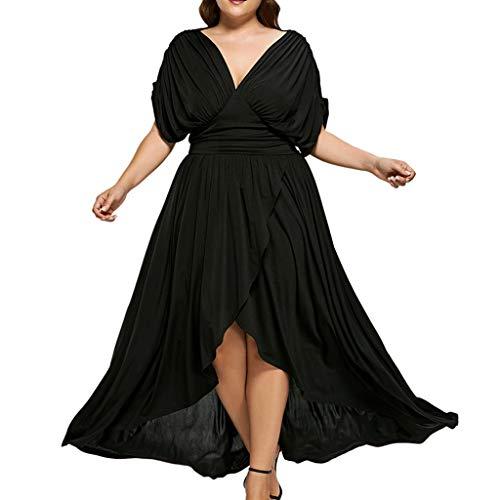Bluestercool Femmes Grande Taille Robes Fashion Sexy Col en V Longue Maxi Dress Noir Robe de Plage Robe de Fête Vintage Swing Dresses pour Printemps Été