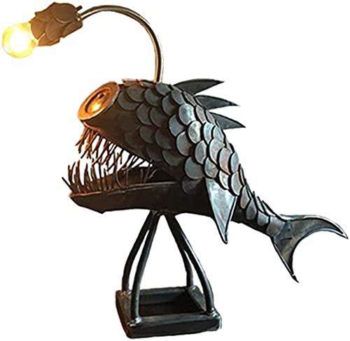 LASULEN Angler Fish Lamp Art Lamp, Rustic Angler Fish Lamp, Angler Fish Metal Desk Lamp, Creative Flexible Lamp Head Adjustments Art Light, 3D Metal Shark Lamp Handmade Unique Lamp