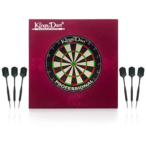 Kings Dart Dart-Set Professional | Profi Dartset Komplettset: Profi-Dartscheibe, 6X Profi-Steeldarts, Dart-Surround | Sisalborsten, Spider-Feldbegrenzung, Messing-Barrels | Soft- u. Steeldart