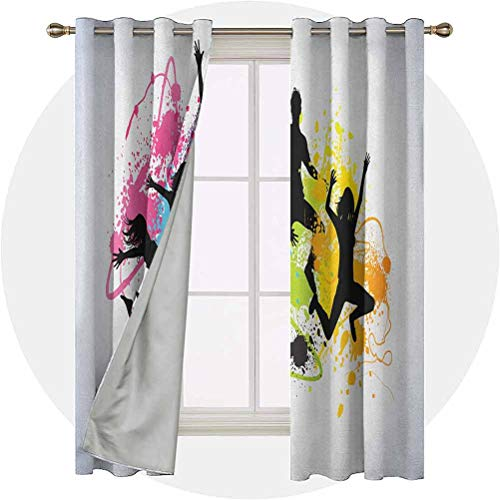 Aishare Store 54 Long Inches Blackout Curtains, Jumping People Set Against Spray Paint Elements Teenagers Having, Room Darkening Home Decor for Kids' Room(2 Panels), Multicolor