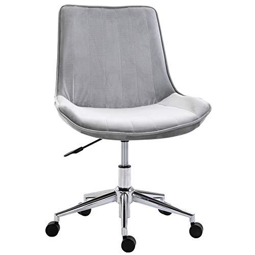 HOMCOM Bürostuhl Drehstuhl Schreibtischstuhl Höhenverstellbar 360° drehbar Samtstoff 52,5 x 60 x 82-91 cm