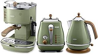 De'Longhi 德龙 Icona Vintage 复古早餐系列 咖啡机+多士炉+电水壶 橄榄绿(海外自营)(国内官?#25605;?#20445;两年)(包邮包税)