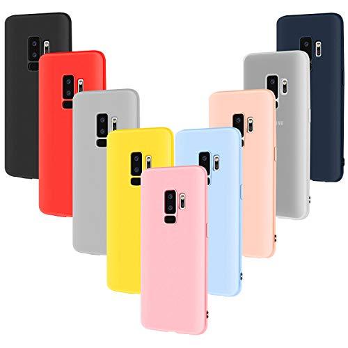 9X Funda Silicona para Galaxy S9 Plus, Leathlux Carcasa [No es para Samsung Galaxy S9] Cover para Samsung Galaxy S9 Plus - (Rosa Verde Púrpura Azul Cielo Amarillo Rojo Azul Oscuro Translúcido Negro)