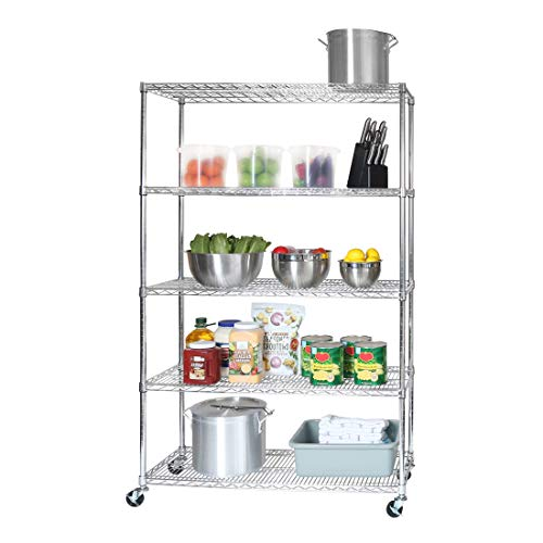 "Seville Classics UltraDurable Commercial-Grade 5-Tier NSF-Certified Steel Wire Shelving with Wheels, 48"" W x 18"" D, Chrome"