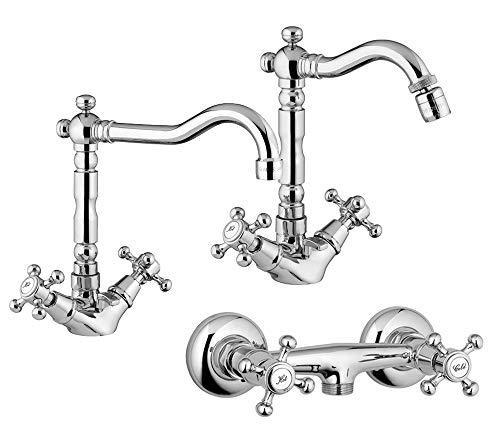 Yellowshop - Set Miscelatori lavabo bidet esterno doccia marca Oioli mod. LIBERTY