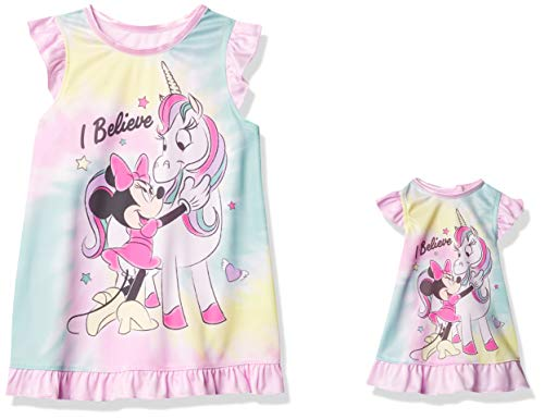 Disney Girls' Toddler Minnie Mouse Nightgown, I Believe 2, 2T