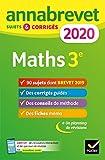 Annales du brevet Annabrevet 2020 Maths 3e - 90 sujets corrigés