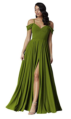 RTTUTED Olive Green Bridesmaid Dresses for Women Long Plus Size 22 Off The Shoulder with Slit Chiffon A Line Skirt Formal Wedding Party Prom Gown 2020