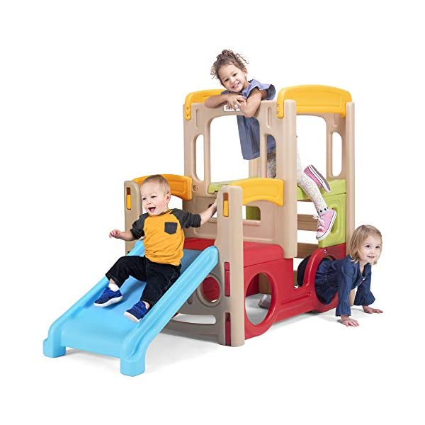 Simplay3 Young Explorers Adventure Climber – Indoor Outdoor Crawl Climb Drive Slide, Year-Round Playset for Children