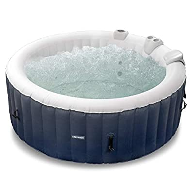 GALVANOX Inflatable Hot Tub, 2-4 Person Blow Up Portable Spa with Built-in Heater and Air Bubble Jets