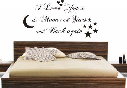 FSSS Ltd I Love You to The Moon & Back ch Sticker Mural pour Enfants Chambre Maison, Vinyle, Pink (Bright), 102x56cm