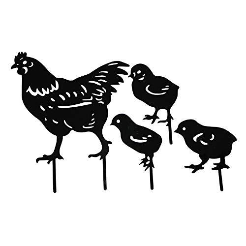 Yard Chicken Art - Gartenfigur Metall Hühner Deko Handarbeit Gartendeko, Outdoor Garten Hinterhof Rasen Pfähle Metall Huhn Yard Dekor Geschenk, Glück Huhn Dekoration aufwendig verarbeitet (F/4PC)