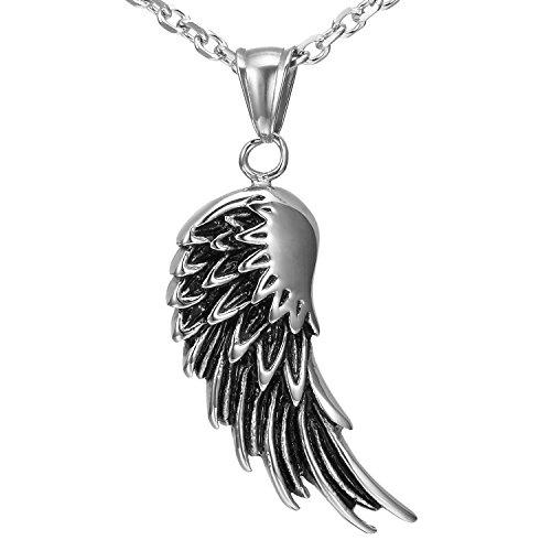 Urban Schmuck vintage Herren Edelstahl Engel Flügel Anhänger Halskette (schwarz, Silber)