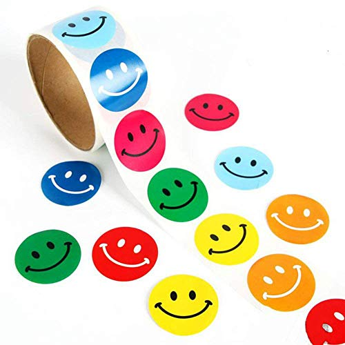 Lezed Bunt Smiley Aufkleber Rundschreiben Lächeln Aufkleber Lehrer und Kinder Gewidmet klebrige Aufkleber Extra Große Belohnungsaufkleber für Kinder 1 Volumen 100 Stücke (Jeder Aufkleber 3.8 * 3.8CM)