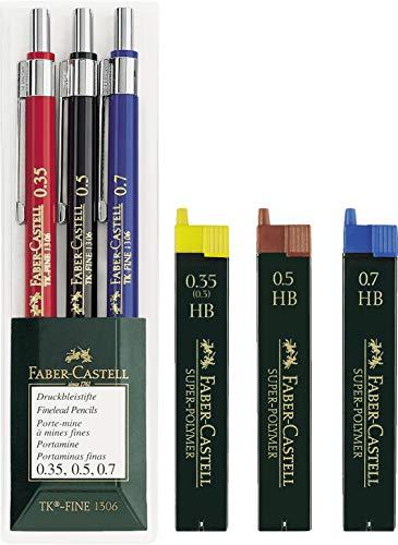 Faber-Castell 130622 Druckbleistift TK-FINE 3er Etui (je ein Stift 0,35 mm, 0,5 mm und 0,7 mm) Spar-Set (Druckbleistifte + 3 Dosen Ersatzminen)