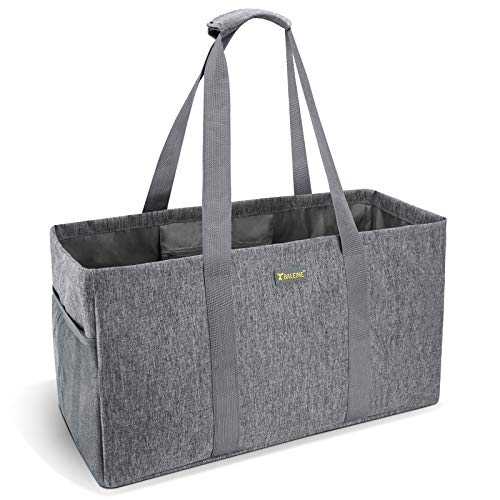 👜 EXTRA LARGE & STURDY: Reusable shopping bags eliminate the needs for disposable plastic bags. The tote bag provides ample shopping and storage space (11.5 Gallons). Rigid design with reinforced wrapped handles keep the reusable grocery bags up for ...