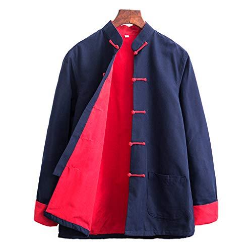 ZHOUXIAO Hombre Traje Tang Tai chi Uniforme Chino Tradicional Kung fu Vestido algodón ala Chun Ropa, Manga Larga Hanfu Chaqueta Camisa Abrigo Artes Marciales Traje cyan-2XL
