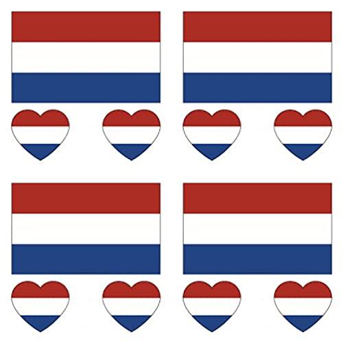 GUGUBU Pack of 4 Netherlands Sticker Temporary Body Tattoo Flag Dutch Holland National Flags Euros World Cup Football Fans Music Festival Heart