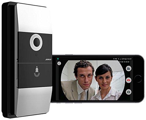 Somikon WLAN Klingel: WLAN-Video-Türklingel mit App, 180° Bildwinkel, 6 Monate Akku-Laufzeit (Funkklingel wasserdicht)