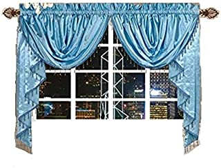 Octorose  Royalty Custom Waterfall Window Valance and Swags & Tails (Blue, Pair of swags & Tails(132x47 WxH))