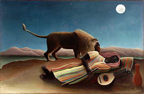 Le Gitane endormi par Henri Julien Rousseau. 100% peint à la main.Huile sur toile. Reproduction de haute qualité. Livraison gratuite (non encadrée et non étirée). Taille de la peinture: 142,2x91,4 cm.