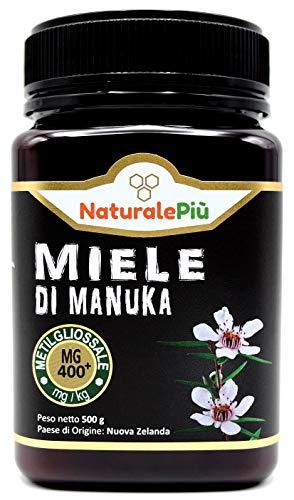 Miel de Manuka 400+ MGO 500g. Producida en Nueva Zelanda, activa y cruda, 100{c6983a32cee869a072bb0a8532cedc22fbcbf534a7a063416b145a58c1984f45} pura y natural. Metilglioxial probado por laboratorios acreditados. NATURALEPIÙ