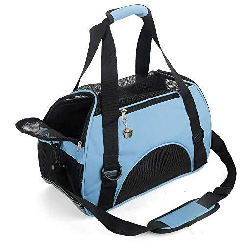 Trasportino per gatti, morbido e confortevole, portatile, pieghevole, approvato dalla compagnia aerea (piccola blu)