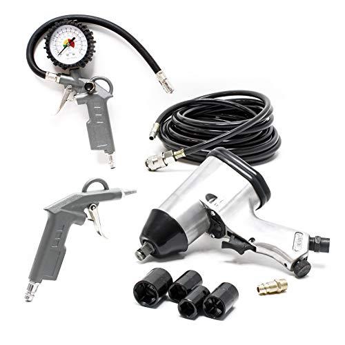 WilTec Kit air comprimé Échange de pneus Pistolet souffleur air comprimé pour compresseur 8 pcs. Clé à Choc