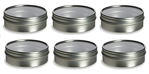 Nakpunar 6 pcs Round Clear Top Tin Containers - Thin Frame2 oz Clear Top - Round - Style 2 Silver