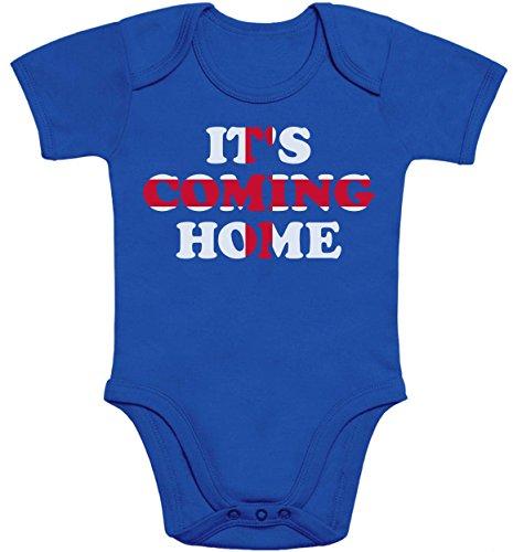 England Fussball Weltmeister 2020 Trikot Its Coming Home Baby Body Kurzarm-Body 69/80 (6-12M) Blau