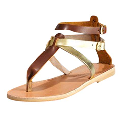 Read About Women Slip-On Sandals Criss Cross Flats Sandals Strappy Gladiators Sandals Casual Wrap An...
