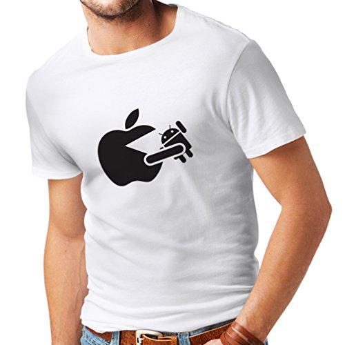lepni.me Camisetas Hombre Funny Apple Comer un Robot - Regalo para los fanáticos de la tecnología (Medium Blanco Negro)