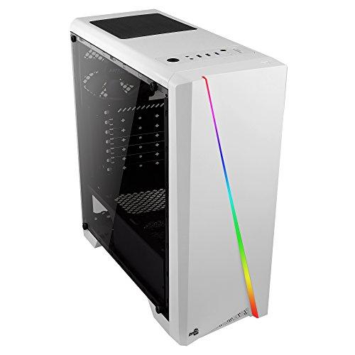 Aerocool CYLONW, Boîtier d'ordinateur ATX, LED RGB Flow Front + Fenêtre Latéral, Blanc
