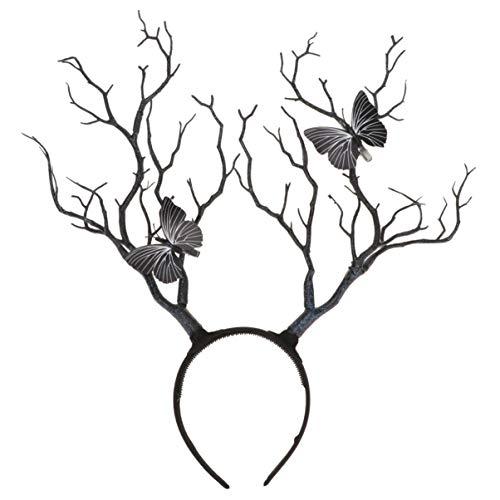 Lurrose Rama Cuerno Diadema Aro de Pelo Bosque de Mariposas Fotografa de Animales Cosplay Accesorios de Fotos Bosque Oscuro Brujas Disfraz Cuernos Tocado Negro