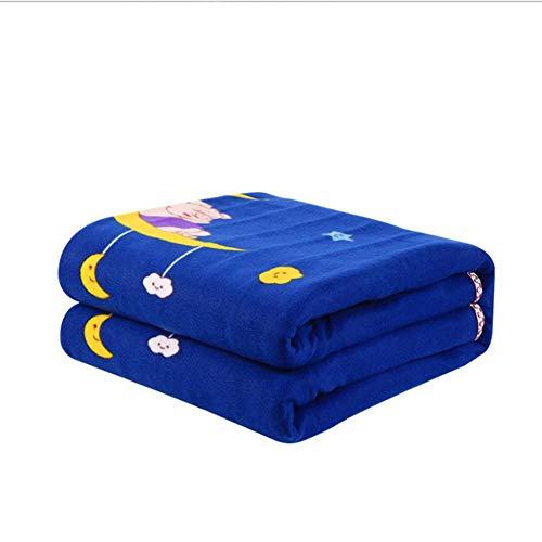 SYOSY Calienta Camas Manta Eléctrica 150 x 130 cm Azul con Desconexión 2 Niveles de Temperatura Patrón de Luna y Estrella,150 * 180cm