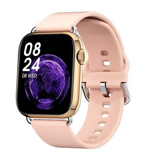 Ezanaki Smartwatch, 1.69Inch Reloj inteligente con Monitor de Frecuencia Cardíaca, Monitor de Sueño, Oxígeno Sanguíneo, Smart Watch IP68 Impermeable con Podómetro Caloría para Hombre Mujer (Oro)