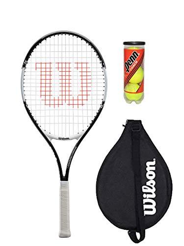 Wilson Federer 25 - Raqueta de tenis con cubierta y 3 pelotas de tenis (varios modelos) (negro/blanco)