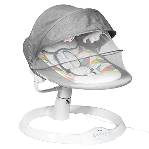 COSTWAY Hamaca para Bebé Silla Mecedora Eléctrica para Niños con 5 Amplitudes/Temporizador/Cinturón de Seguridad/Techo Removible y Mosquitera para Bebés 0-12 Meses
