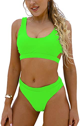 Blooming Jelly Women's High Waisted Swimsuit Crop Top Cut Out Two Piece Cheeky High Rise Bathing Suit Bikini(Small,Fluorescent Green)