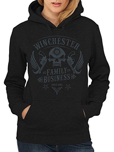 clothinx Damen Kapuzenpullover Winchester Family Business Schwarz Gr. L