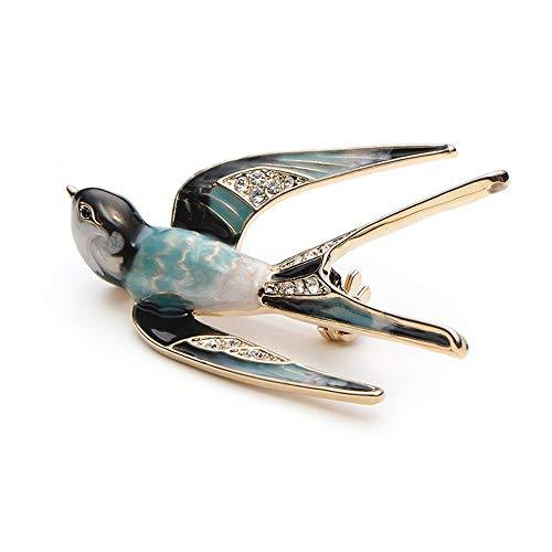 Onior プレミアムラブリークリスタルツバメ動物ブローチ鳥ラペルピンバッジ女性ジュエリー