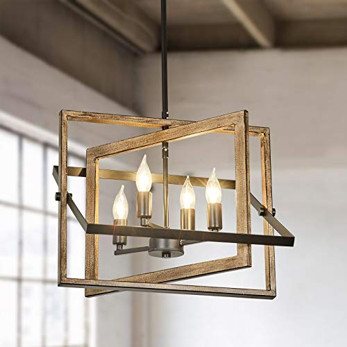 Rustic Chandelier Light Fixture, 4-Light with Imitation Wood Grain and Matte Black Finish, Farmhouse Chandelier for Kitchen Island, Entryway and Dining Room