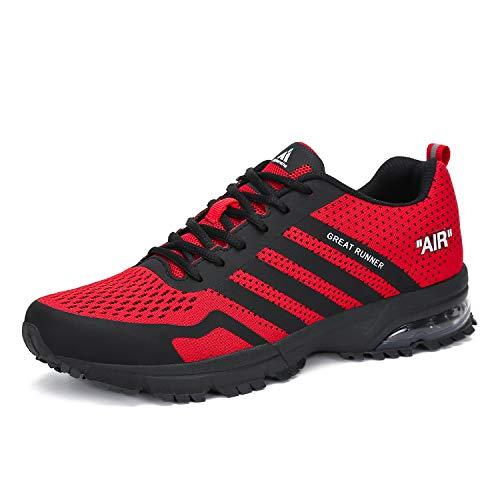 Mishansha Laufschuhe Herren Damen Sportschuhe Leichte Turnschuhe rutschfeste Atmungsaktive Sneaker Mesh Running Schuhe Männer Frauen, Sport Rot, 46 EU