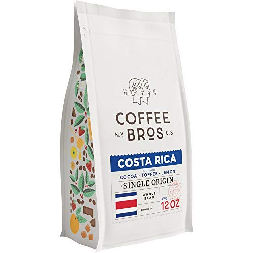 Coffee Bros., Costa Rican Single Origin Whole Bean — 100% Arabica — 1 Bag (12oz) — Gourmet & Specialty
