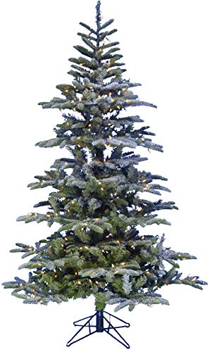 Fraser Hill Farm Green 7.5-Ft Nordic Frosted Pre Lit Slim Christmas Tree with EZ Connect Clear Smart Lights and Metal Stand