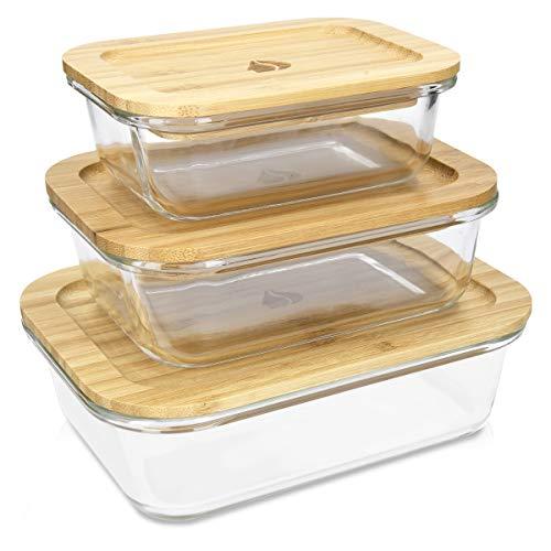 Navaris Glas Frischhaltedosen Set mit Bambus Deckel - 3x Glasbehälter Dose Behälter in verschiedenen Größen - hitzebeständig kältebeständig