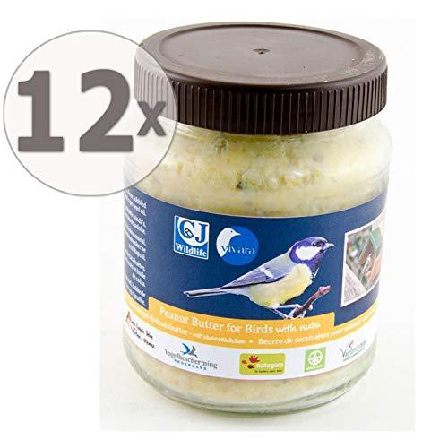 CJ Wildlife Erdnussbutter für Vögel, mit Nussstückchen, Sparpack 12 x 330 g