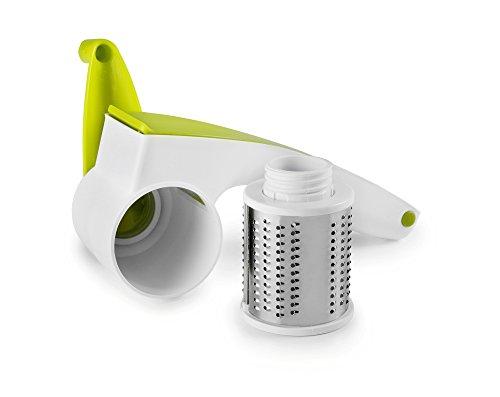 IBILI 739850 - Rallador de Queso Giratorio, plástico y Acero Inoxidable, Color Blanco y Verde, 20 x 9 x 8 cm