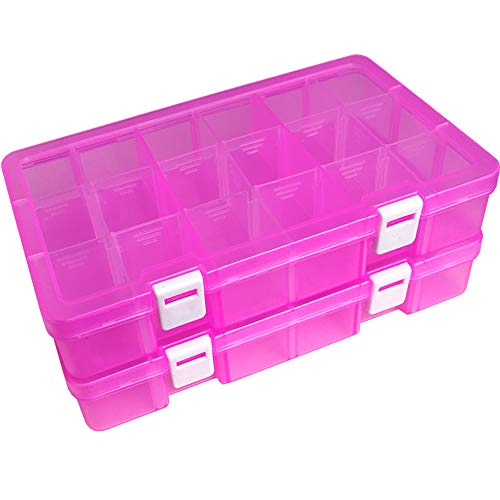 Jewelry /& Screws Perfect for Fishing Tackle 36 Compartment Organizer Neworkg 2 Pack Plastic Organizer Container Box with Dividers
